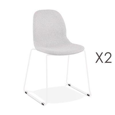 Lot de 2 chaises 50x54,5x85 cm tissu gris clair pieds blancs - LAYNA