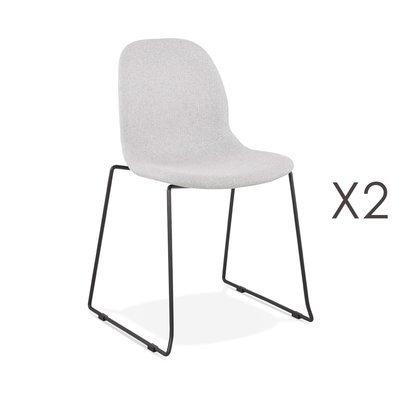 Lot de 2 chaises 50x54,5x85 cm tissu gris clair pieds chromés - LAYNA