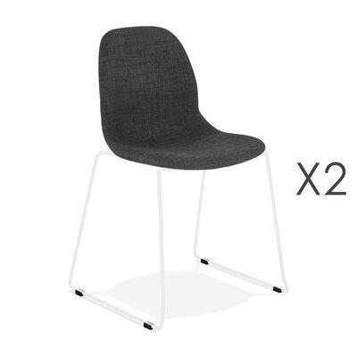 Lot de 2 chaises 50x54,5x85 cm tissu gris foncé pieds blancs - LAYNA