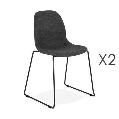 Lot de 2 chaises 50x54,5x85 cm tissu gris foncé pieds noirs - LAYNA