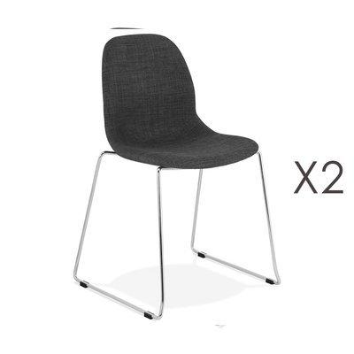 Lot de 2 chaises 50x54,5x85 cm tissu gris foncé pieds chromés - LAYNA