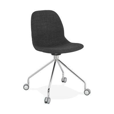 Chaise à roulettes 46x49x86 cm en tissu gris foncé - LAYNA