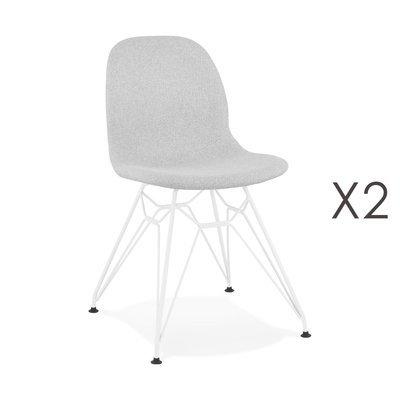 Lot de 2 chaises 49x49x83 cm tissu gris clair pieds blancs - LAYNA