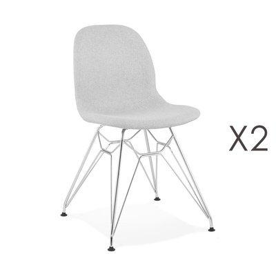 Lot de 2 chaises 49x49x83 cm tissu gris clair pieds chromés - LAYNA