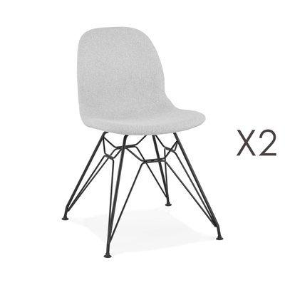 Lot de 2 chaises 49x49x83 cm tissu gris clair pieds noirs - LAYNA