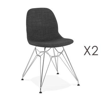 Lot de 2 chaises 49x49x83 cm tissu gris foncé pieds chromés - LAYNA