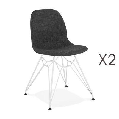 Lot de 2 chaises 49x49x83 cm tissu gris foncé pieds blancs - LAYNA