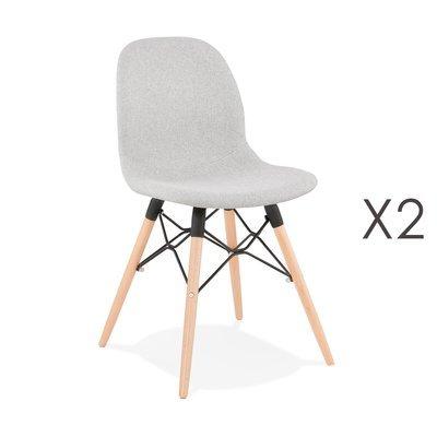 Lot de 2 chaises 47x49x84 cm tissu gris clair pieds naturels - LAYNA
