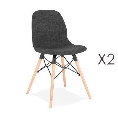 Lot de 2 chaises 47x49x84 cm tissu gris foncé pieds naturels - LAYNA