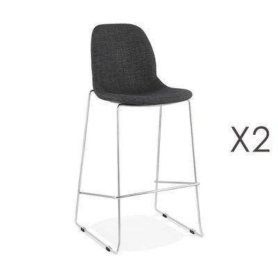 Lot de 2 chaises de bar H76 cm tissu gris foncé pieds chromés - LAYNA