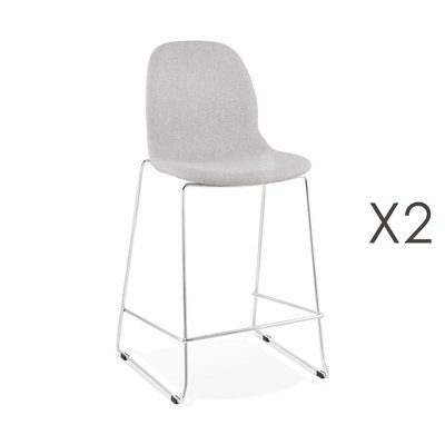 Lot de 2 chaises de bar H67 cm tissu gris clair pieds chromés - LAYNA