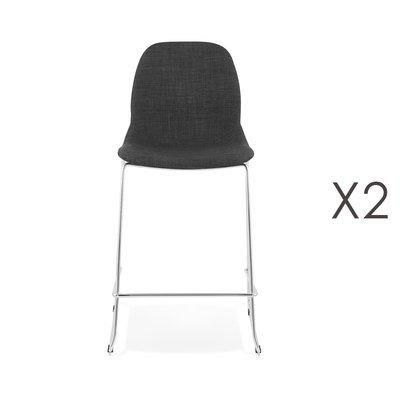 Lot de 2 chaises de bar H67 cm tissu gris foncé pieds chromés - LAYNA