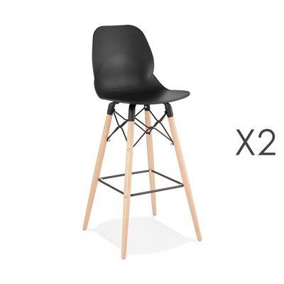 Lot de 2 chaises de bar H75 cm noires et pieds naturels - LAYNA