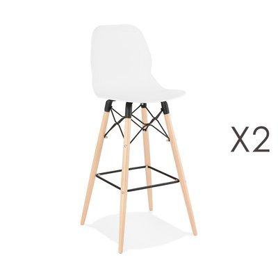 Lot de 2 chaises de bar H75 cm blanches et pieds naturels - LAYNA