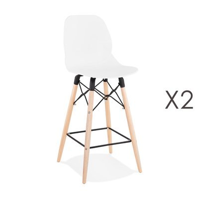 Lot de 2 chaises de bar H68 cm noires et pieds naturels - LAYNA