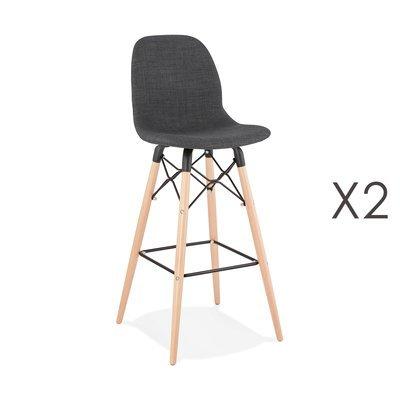 Lot de 2 chaises de bar H75 cm en tissu gris foncé - MOANA