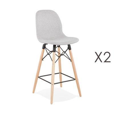 Lot de 2 chaises de bar H68 cm en tissu gris clair - MOANA