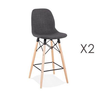 Lot de 2 chaises de bar H68 cm en tissu gris foncé - MOANA