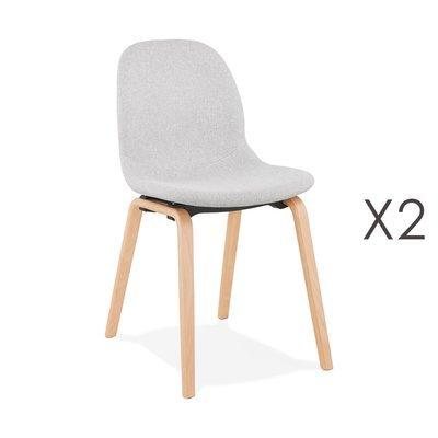 Lot de 2 chaises en tissu gris clair et pieds naturels - MOANA