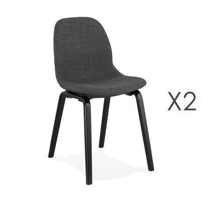 Lot de 2 chaises en tissu gris foncé et pieds noirs - MOANA
