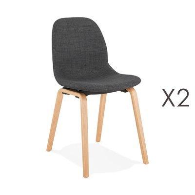 Lot de 2 chaises en tissu gris foncé et pieds naturels - MOANA