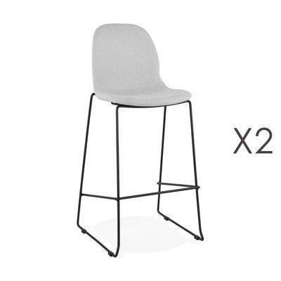 Lot de 2 chaises de bar H76 cm tissu gris clair pieds noirs - MOANA