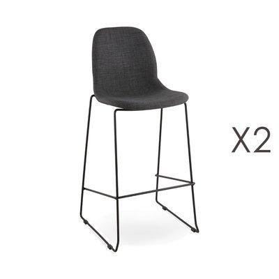 Lot de 2 chaises de bar H76 cm tissu gris foncé pieds noirs - MOANA