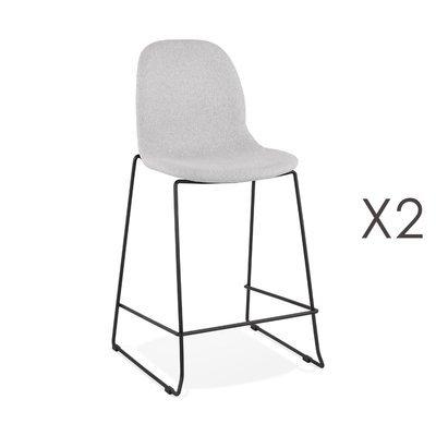 Lot de 2 chaises de bar H67,5 cm tissu gris clair pieds noirs - MOANA