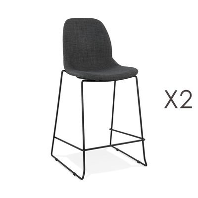 Lot de 2 chaises de bar H67,5 cm tissu gris foncé pieds noirs - MOANA