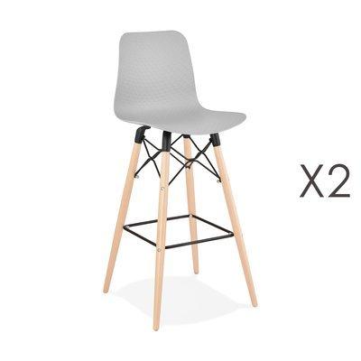 Lot de 2 chaises de bar H76 cm grises et pieds naturels - YAREN