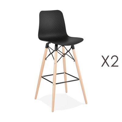 Lot de 2 chaises de bar H76 cm noirs et pieds naturels - YAREN