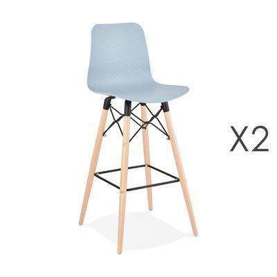 Lot de 2 chaises de bar H76 cm bleues et pieds naturels - YAREN