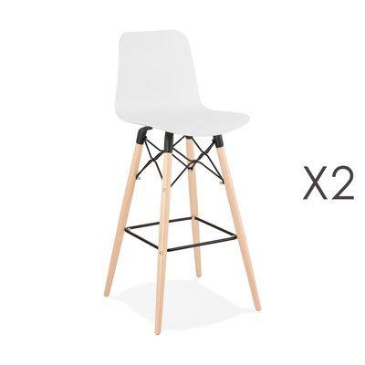 Lot de 2 chaises de bar H76 cm blanches et pieds naturels - YAREN