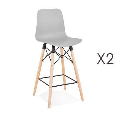 Lot de 2 chaises de bar H69 cm grises et pieds naturels - YAREN