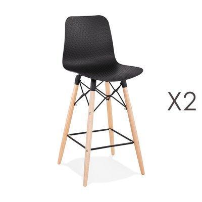 Lot de 2 chaises de bar H69 cm noirs et pieds naturels - YAREN