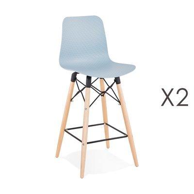 Lot de 2 chaises de bar H69 cm bleues et pieds naturels - YAREN