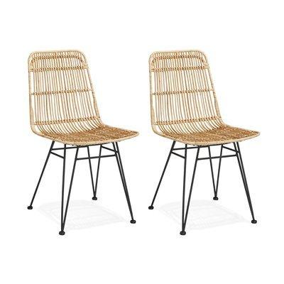 Lot de 2 chaises en rotin naturel et métal - KLUPS