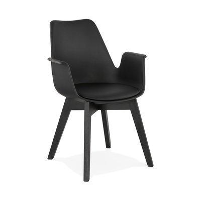 Fauteuil design 50x58,5x82 cm noir et pieds noirs - SHAFT