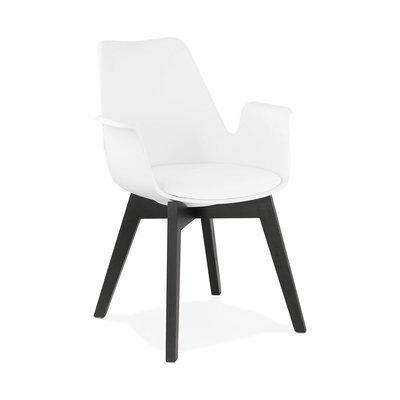 Fauteuil design 50x58,5x82 cm blanc et pieds noirs - SHAFT