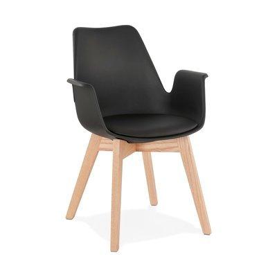 Fauteuil design 50x58,5x82 cm noir et pieds naturels - SHAFT
