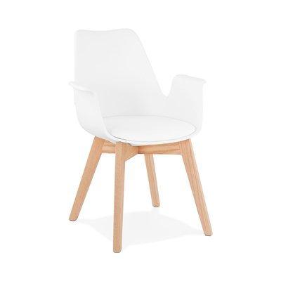 Fauteuil design 50x58,5x82 cm blanc et pieds naturels - SHAFT
