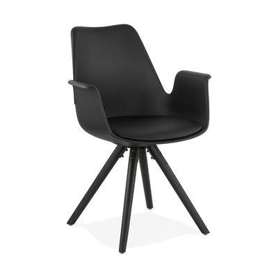 Fauteuil design noir et piètement en bois noir - SHAFT