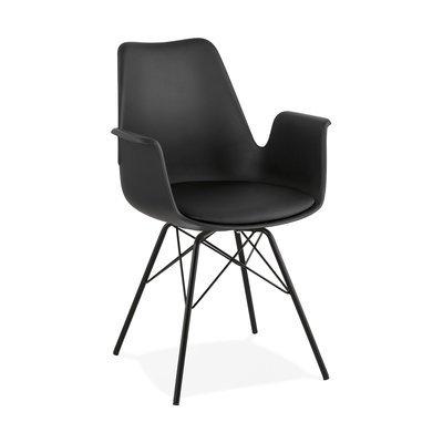 Fauteuil design noir et piètement en métal noir - SHAFT