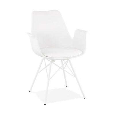 Fauteuil design blanc et piètement en métal blanc - SHAFT