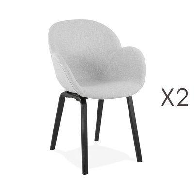 Lot de 2 chaises en tissu gris et pieds noirs - NOVAK
