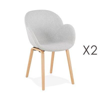 Lot de 2 chaises en tissu gris et pieds naturels - NOVAK