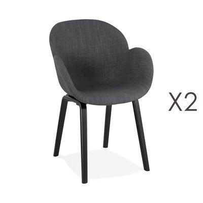 Lot de 2 chaises en tissu gris foncé et pieds noirs - NOVAK