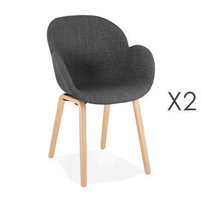 Lot de 2 chaises en tissu gris foncé et pieds naturels - NOVAK