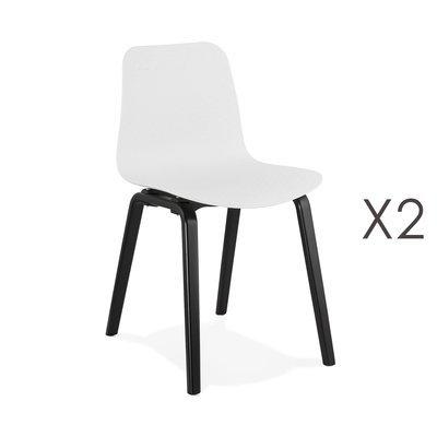 Lot de 2 chaises 44,5x52,5x81 cm blanches et pieds noirs - NELSON