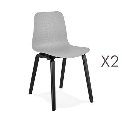 Lot de 2 chaises 44,5x52,5x81 cm grises et pieds noirs - NELSON